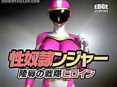 Big boobed anime hjälte super heta i tight dräkt