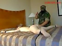 Blindfolded Girl Tied To Bed Spanked Pussy And Ass Fucked With Toys By Guy In Military Uniform