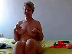 Nackte Blonde MILF Schlafzimmer Camshow