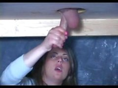 sexy teen sucking and doing handjob to a lucky small cock in glory hole!