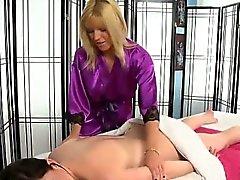 Beautiful blonde masseuse lesbian massage