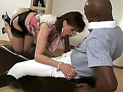 Horny mature milf sucks black dick