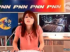 Horny Japanese news reading girl gets