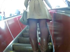 black pantyhose and boots