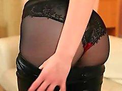 subtle black pantyhose and redhead strip