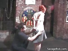 Weird redhead Jayne gets tied and ass part1