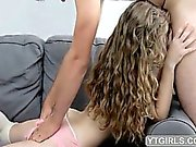 Beauty blonde slut gets creampied on a couch
