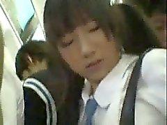 Schüchtern Schul im öffentlichen Zug banged