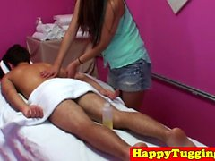 Asian masseuse pussypounded on massage table