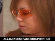 Aya Fujii hot Asian milf in glasses gets pussy poked and gives blowjob