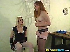 Blonde Femdom Abusing Her Slave