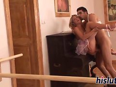 Saucy ballerina gets her wet snatch pummeled