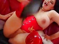 Beauty with huge tits fucked in sexy boots