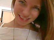 Slim brunette teen lies on her side