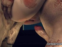 Rävlika 3D Zombie Babe Getting Double Teamed