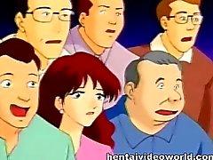 Anime Hausfrau Ruft auf die Bühne masturbiert