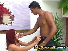 Paola Felix - Redhead Tranny Riding On A Fat Latino Cock