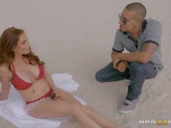 Bikini clad mom Diamond Foxxx gives car blow job