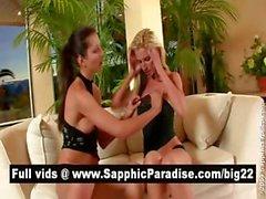 Сексуальные блондинка и брюнетка Остров Лесбос поцелуи и обладающие лесбо любви