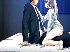 Coño mojado en 3D del anime amorcito con sensualidad besándose en la cama