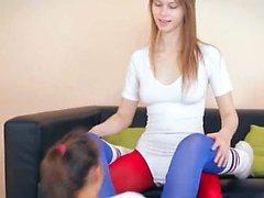 fine lezzies in pantyhose enjoying strap