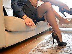 2 Herd sexy Sekretärin betrachten Tribut (FF Nylons)
