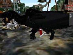 Avarian svart draken hoppassande anthros husky , sistnämnd med Dragon förmyndare