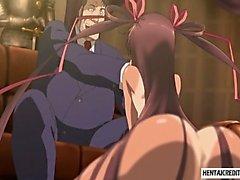 De Hentai chica obtiene su coño húmedo dedos por viejo pervertido