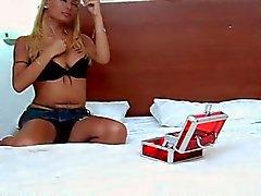Blonde TS bedroom play