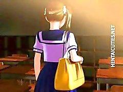 Schüchtern 3D-Anime- school zeigen Meisen