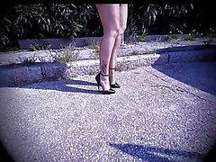Çıplak Tam Moda Naylon Çorap & Domina D'Orsay Pompaları