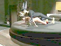 Atractiva de nena historieta 3D de follada fuerza por el lobo