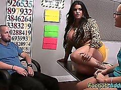 Femdom threesome handjob in pantyhose