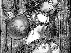jätte rep bundet bröst bdsm
