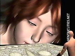 a caldo 3D di del anime bimbo posa in suo Clip intimo