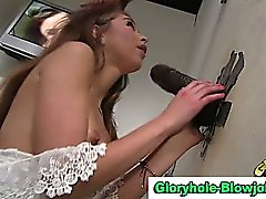 Interracial gloryhole cock gobbling