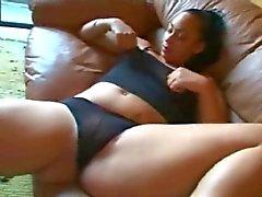 Geile Fat Chubby Ebony Ex GF masturberen haar natte kut