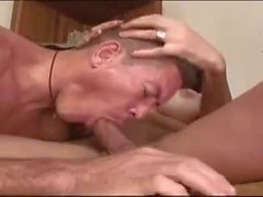 Naked stud and brunette Ts fuck each other