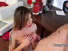 Horny tranny fucks in office