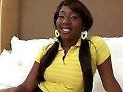 Sassy black teen sucks white dick and gets her pussy banged
