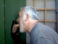 Blowjob and cum eating in Glory Hole