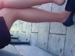 Candid Bus Stop Shoeplay Feet Nylons Pantyhose 3 Dangling