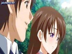 Okuldan önce bir Titjob ve footjob veren sarışın genç anime kız