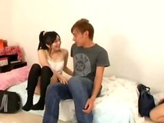 Big titted Asian princess riding cock in black stockings