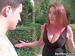 Horny redhead MILF sucks stiff cock