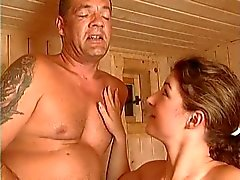 Busty girl gets fucked by old man