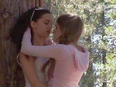 Faye Reagan and Georgia Jones sex in the woods