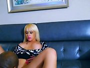 Busty blonde horny teen sucking two big hard cocks