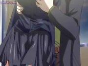 Busty anime flicka får jizzload