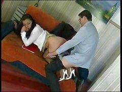 Hot secretary in pantyhose